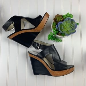 MICHAEL Michael Kors Shoes - 🌵Michael Kors Josephine Leather Peep Toe Wedges 9